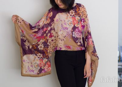 Scarf Top with Kimono Sleeves