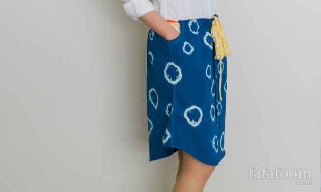 Shibori Dyed Men's Shirt Skirt