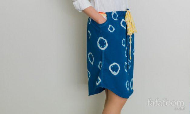 Shibori Dyed Men's Shirt Skirt