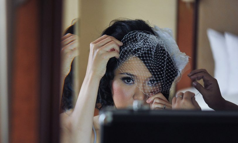 Birdcage Veil and Fabric Flowers