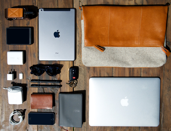 Daily essentials that can fit inside the Espelette Messenger Bag
