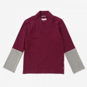 sou-sou-v-neck-contrasting-sleeve