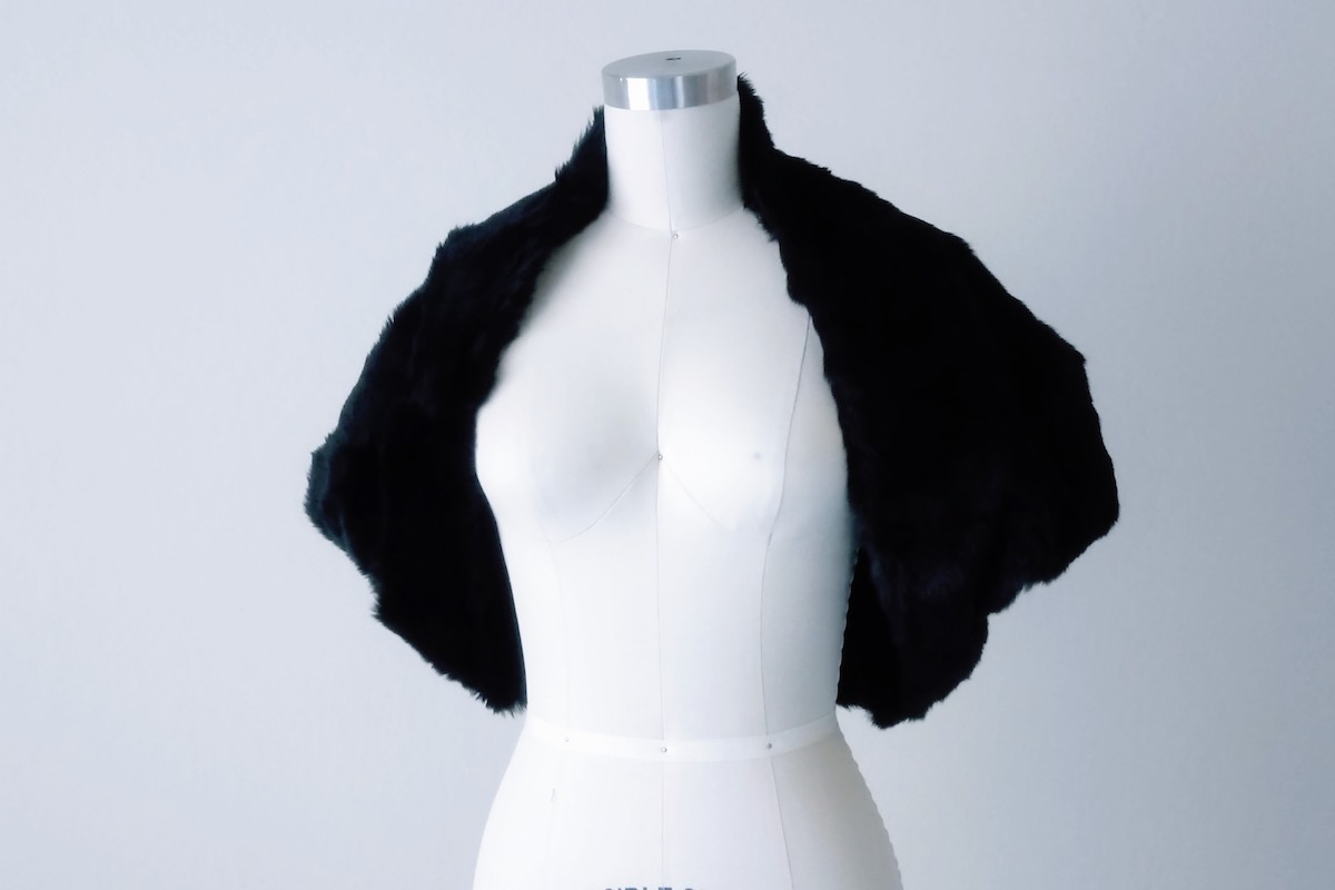 Black Fur Bolero Shrug