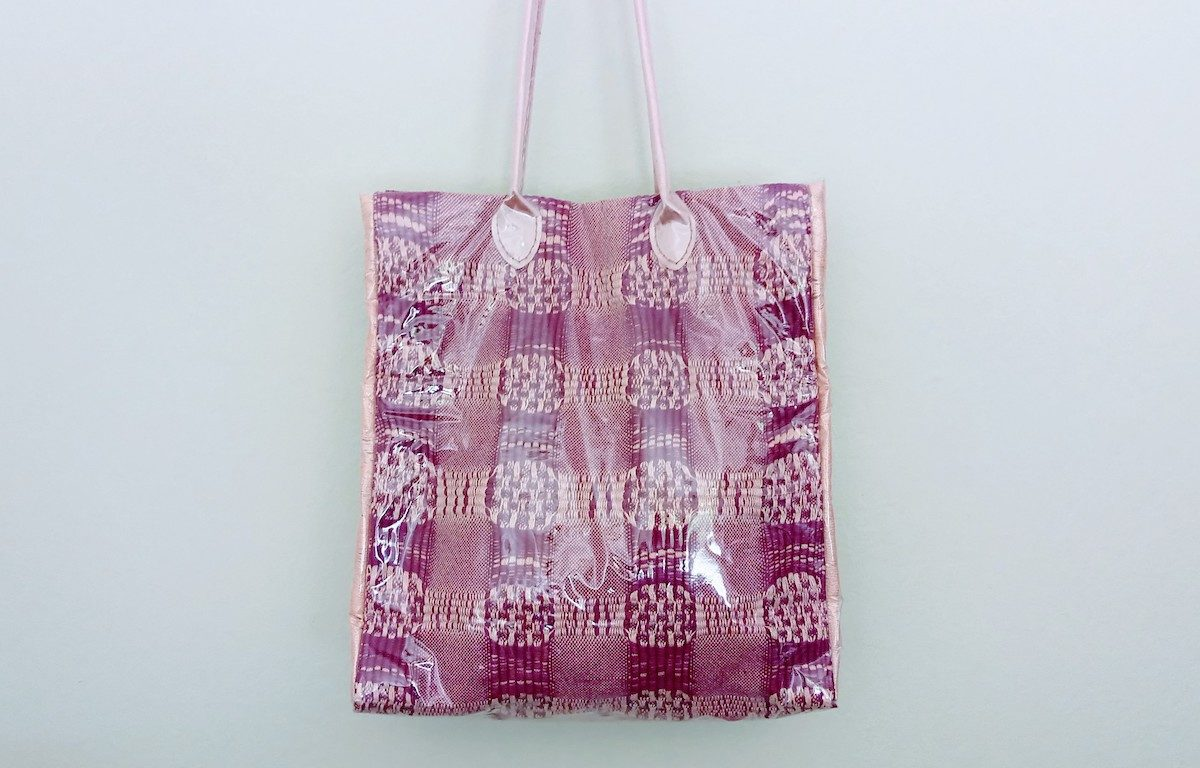 Handwoven Tote Bag with Vinyl Cover