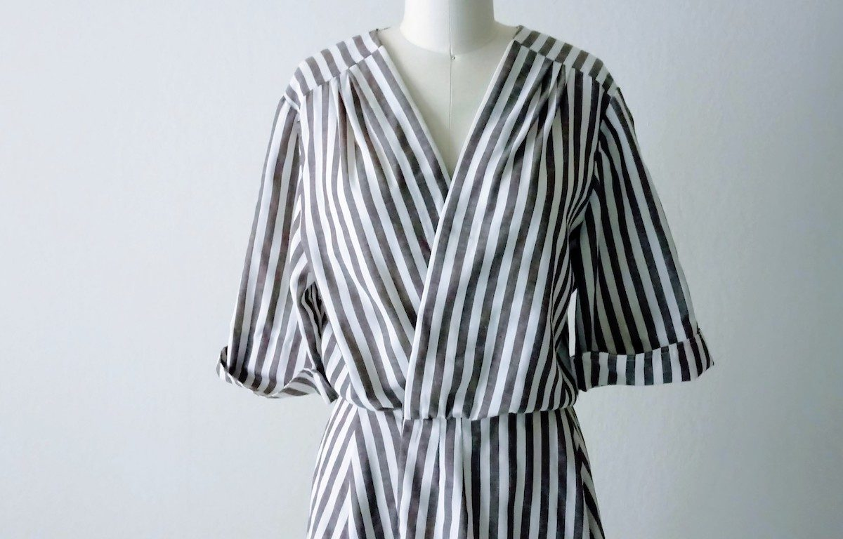Refashioned Striped Wrap Dress