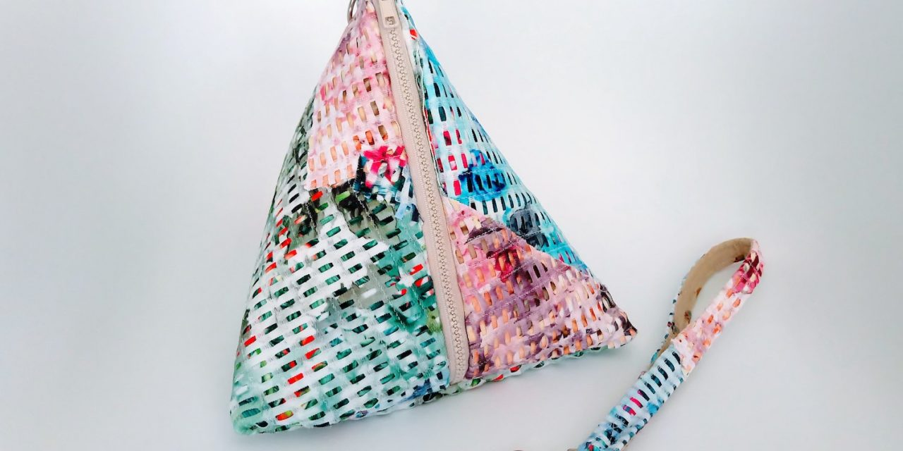 DIY Fabric Collage Tetrahedron Bag