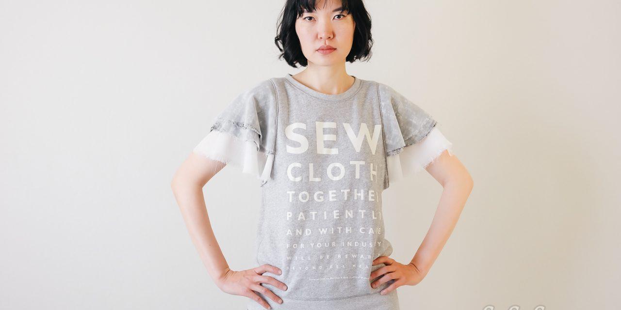 DIY Layered Flounce Sleeves on Sweatshirt