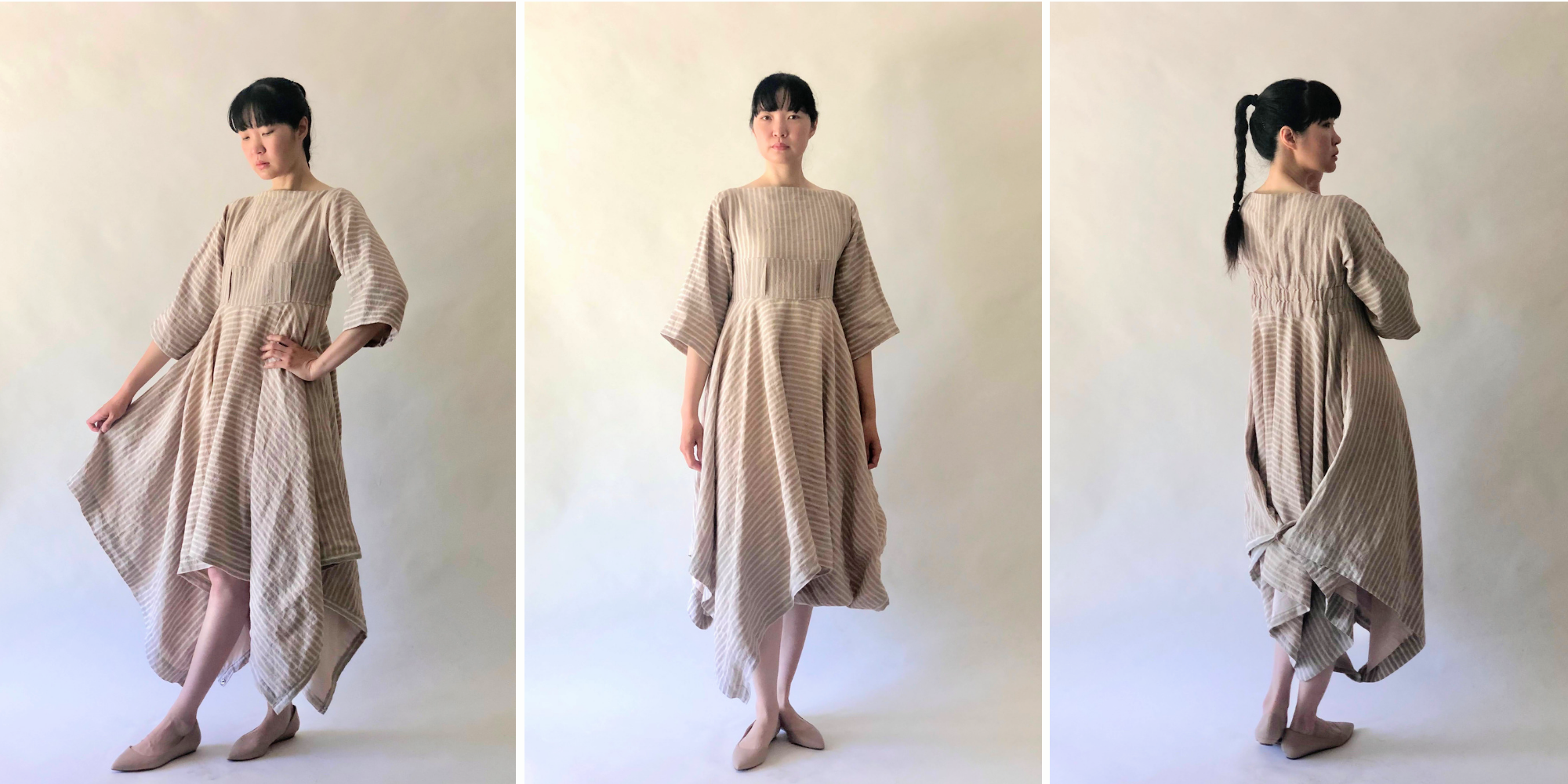 Upcycling Linen Curtains into Handkerchief Dress