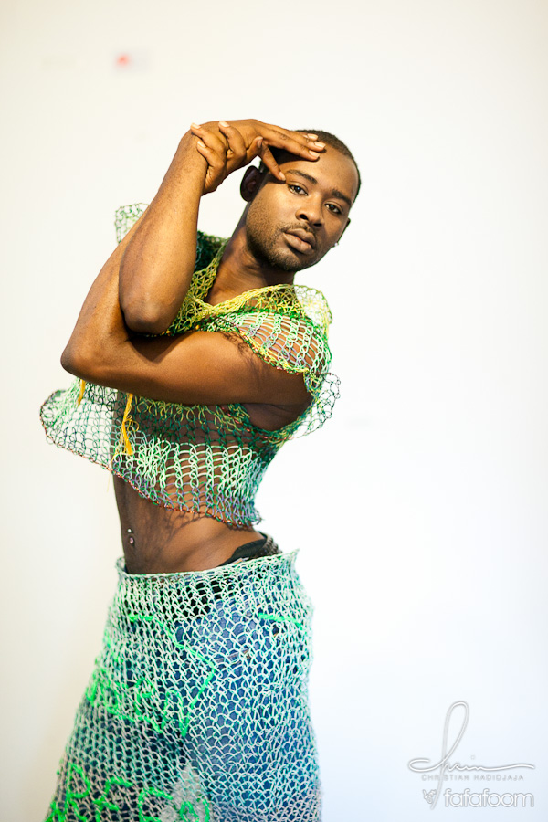 Kemari Harris strikes a pose in Tuan Tran getup